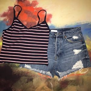 H&M | Button Fly Denim Distressed Shorts